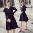 Long-sleeve Layered A-line Dress