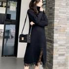 Long-sleeve Turtleneck Midi Knit Dress Black - One Size