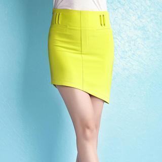 Asymmetric-hem Pencil Skirt