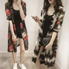 Printed Buttoned Long Thin Jacket