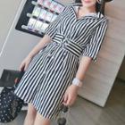 Striped Elbow-sleeve Shirt Dress