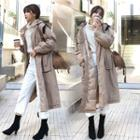 Long Hooded Buttoned Padded Coat