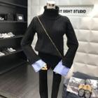 Striped Cuff Turtleneck Sweater