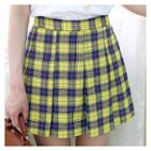 Pleated Check-pattern Miniskirt