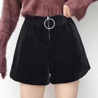 High-waist Plain Velvet Shorts Black - One Size