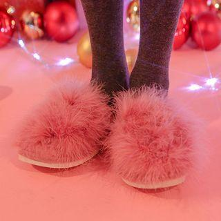 Heart-patch Furry Slippers