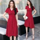 Short-sleeve Buttoned Polka Dot A-line Dress