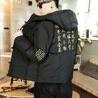 Chinese Character Embroidered Hooded Padded Coat