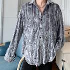 Long-sleeve Velvet Lace-panel Shirt