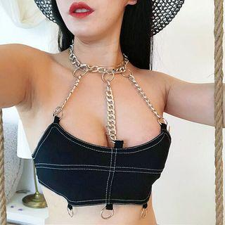 Chain Halter Crop Top Black - One Size