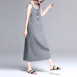 Pinstriped Midi Shift Tank Dress