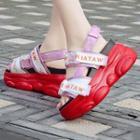 Iridescent Slingback Platform Sandals