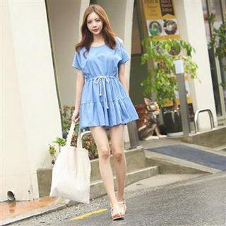 Cutout-sleeve A-line Dress Blue - One Size