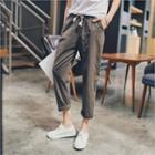 Linen Blend Cropped Baggy-fit Pants