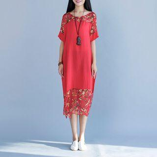 Floral Print Panel Short Sleeve Dress