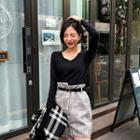 Asymmetric Panel Check Mini Skirt With Belt