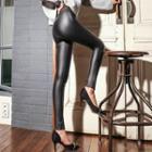 Slit Hem Faux Leather Skinny Pants