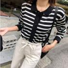 Collared Buttoned Stripe Knit Cardigan