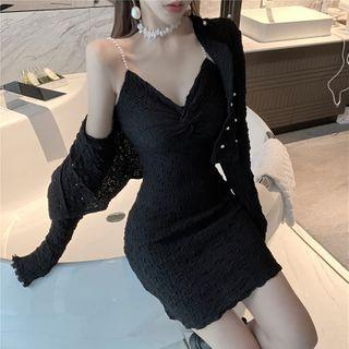 Plain Long-sleeve Cardigan / Pearl Sleeveless Skinny Dress