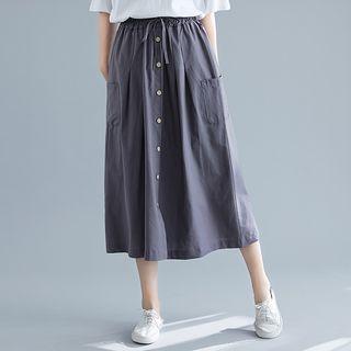 Button-front High-waist A-line Skirt