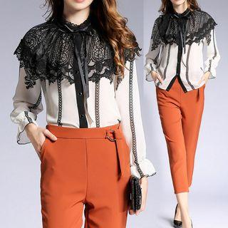 Bell-sleeve Lace Crochet Blouse
