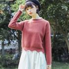 Long-sleeve Piped Knit Top
