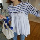 Spaghetti Strap Top / Long-sleeve Striped Top