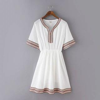 Embroidered Elbow Sleeve Dress
