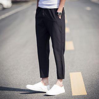 Plain Cropped Drawstring Pants