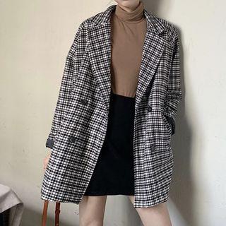Plaid Double Breasted Coat Plaid - Black & White - One Size