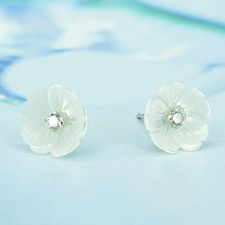 Rhinestone Floral Sterling Silver Earring