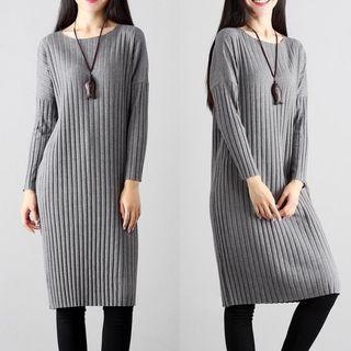 Drop Shoulder Long Sleeve Knit Dress Gray - One Size