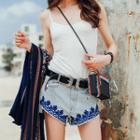 Asymmetric-hem Embroidered Denim Shorts
