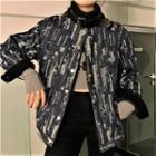 Print Denim Jacket Black & Gray - One Size