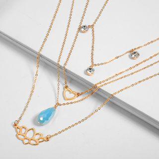 Rhinestone Heart Layered Necklace Gold - One Size