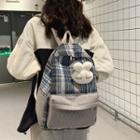 Rabbit Brooch Plaid Linen Backpack