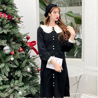 Contrast Trim Layered Collar Shirtdress Black - One Size