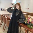 Dotted Chiffon Blouse / Midi Pinafore Dress
