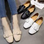 Buckled Faux-leather Flat Loafers