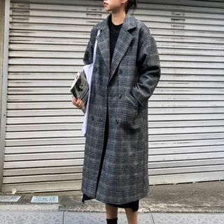 Double-breasted Long Plaid Coat Gray - One Size
