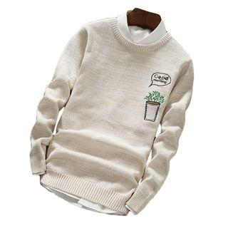 Plant Embroidered Long-sleeve Knit Top