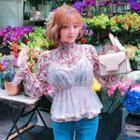 Set: Peplum Tulle Top + Floral Chiffon Blouse