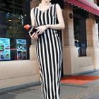 Sleeveless Printed Slit Sheath Dress
