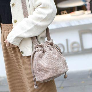 Corduroy Drawstring Bucket Bag
