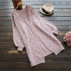 Perforated Long Chunky Cardigan