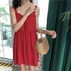 Dotted Sleeveless Chiffon A-line Dress