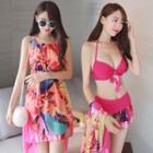 Set: Printed Sleeveless Dress + Bikini Top + Swim Skirt