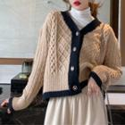 Colorblock Cable Cardigan