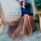 Sweater / Slipdress / Long-sleeve Pleated Maxi Dress