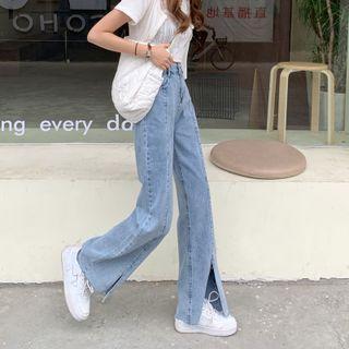 Slit Wide-leg Jeans / Belt / Set